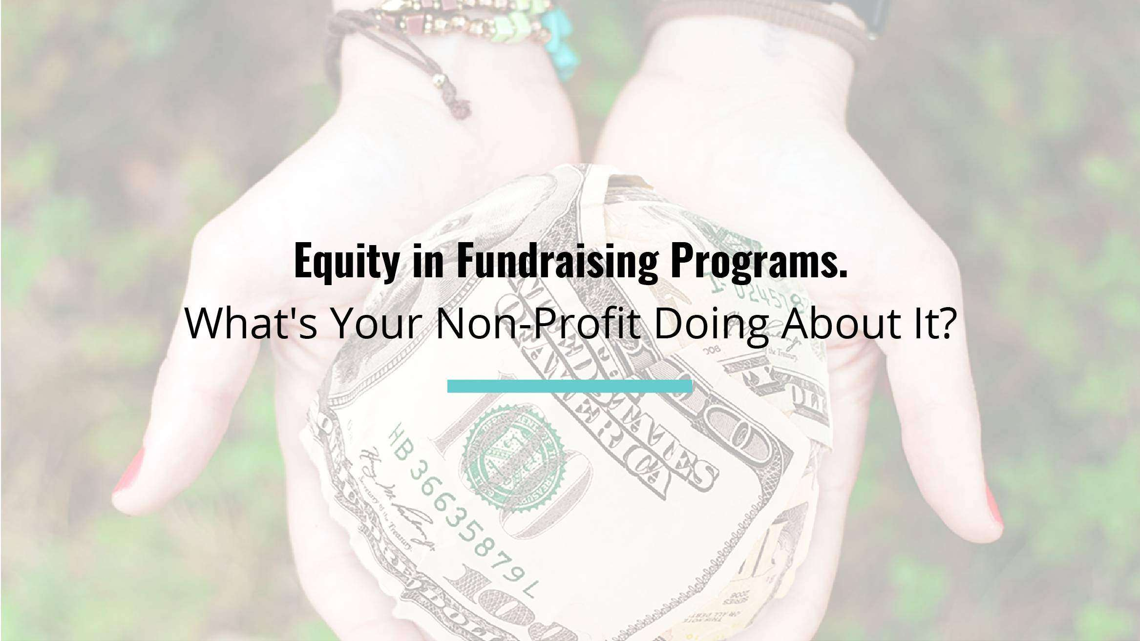 Equity in Fundraising Programs. What's Your Non-Profit Doing About It?